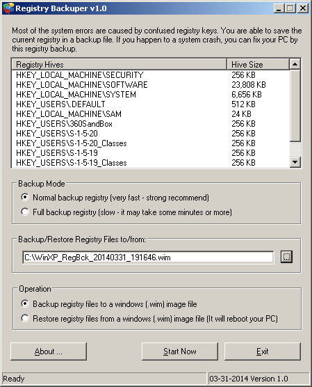 Registry Backuper backup and restore registry